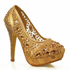 NEW Womens Gold Cut Out Mesh Lace Rhinestones Crystals Stiletto Pumps Shoe Size