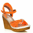 NEW Womens Orange Ankle Strap Cork Wedge Platform Mid Heel Sandals Shoes Size