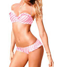 Sexy Girl/Women's Bikini Stripe Swimsuit Push-Up Bandeau Swimwear Set Padded bra