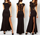 Hot Ladies Sexy Lace Long Bodycon Evening Cocktail Formal Cut Out Black Dress