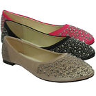 New Ladies Studded Flat Loafers Satin Casual Dolly Pumps Womens Shoes Size Uk