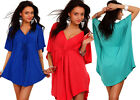 Womens Kimono Top –Batwing V Neck Mini Dress Party /Summer Tunic Top Size M # 90