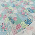 per 1/2 metre/fat quarter 100 % cotton  aqua patchwork effect floral fabric