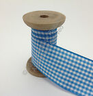 Berisfords Gingham (Small Check) Ribbon - 4 Peacock Blue CHOOSE WIDTH & LENGTH