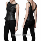 Hidden Fashion Womens Ladies Faux Leather PU Aztec Embroidered Crop Vest Tops
