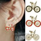 Womens Girls Mini Unique Korean Style Bike Design Stud Earrings Rhinestone