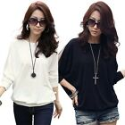 Stylish Woman Sexy Hollow out Mesh Batwing Sleeve Crew Neck Shirt Outwear Tops