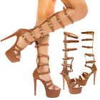 Brown Open Toe Buckle Cage Gladiator Platform Stiletto Knee High Heel Pump 5-11