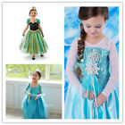 Frozen Elsa Dress Up Gown Costume Ice Princess Queen Dress Size 3-8Y Fast ship
