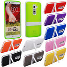 TPU Case Clear Cover Soft Gel Silicone Hybrid Impact Kickstand For LG G2 D802