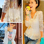 New Ladies Women Lace Blouse Long Sleeve shirt Doll Chiffon Tops Blouse