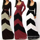 UK Womens Sexy Cotton Stripe Formal Maxi Long Prom Cocktail Party Evening Dress