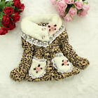 Pretty Girls Kids Baby Toddler Fur Hairy Leopard Winter Pocket Lace Coat Jacket