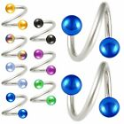 2P Spiral ring tragus bars twist barbell eyebrow piercing 9CSX-SELECT COLOR&SIZE