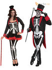 Ladies + Mens Bone Jangles Skeleton Halloween Fancy Dress Vodoo Couples Costume