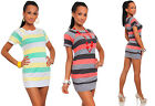 Ladies Crew Neck Multi Color Pencil Top Womens Short Sleeve Color Mini Dress#266