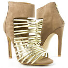 Beige Gold Open Toe Strappy Ankle Bootie Gladiator Stiletto High Heel Pump 5-11