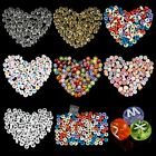 4x7mm 100pcs Glass Letter Round Flat Loose Spacer Beads Jewelry DIY Multicolor