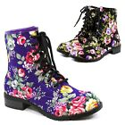 Women's Floral Military Combat Boots Lace Up Ankle Booties Ladies Low Heel Shoes