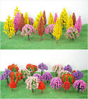 "20PCS MODEL RAILWAY SCENERY COLORFUL FLOWER TREE SET 1.6""-2.8"" HO OO TT N GAUGE"