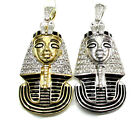 0.57ct Mens Ladies 10k White Yellow Gold Diamond Egypt Pharaoh Charm Pendant