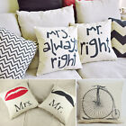 Couples Back Cushion Cover Pillow Case Waist Pillow Cotton Decor In Bed Sofa Car
