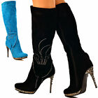 Womens Ladies Knee High Boots Stiletto Chrome High Heel Butterfly Diamante Size