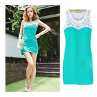 Blue/White Women Hollow Sexy mini Dress Summer Casual Party UK Size 8-16
