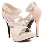 Nude Open Toe Rhinestone Bridal Wedding Stiletto High Heels Pump Evening Sandals