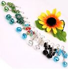 Handmade Assorted Mixed Color Crystal Glass Beads Dangle Hoop Earrings 7 Options