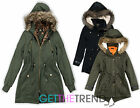Womens Brave Soul Green Black Parka Cotton Jacket Girls School Hooded Coat 8-16