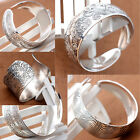 Classic Patterns Carved Tibetan Silver Women Men Open Cuff Bracelet Bangle WS