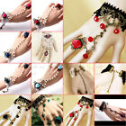 Sexy Gothic Elegant Flower Lace Retro Bracelet Ring Chain Set for Party Gift WS
