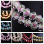 12x8mm Faceted Lampwork Glass Charm Rose Flower Findings 10Pcs Loose Spacer Bead