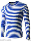 (CAL2) Mens Slim Fit Round Neck Stripe Pattern Basic Long Sleeve Cotton Tshirts