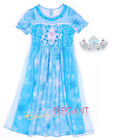 Disney Frozen Princesse Elsa Enfants Filles Robe Jupe Costume Pyjama Dress 3-8Yr