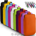 COLOUR (PU) LEATHER PULL TAB POUCH & STYLUS PEN FOR LARGE MOBILE PHONES