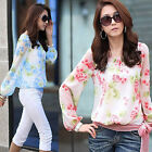 New Women Lady's Fashion Floral Chiffon Long Sleeve Shirts Casual Tops Blouses