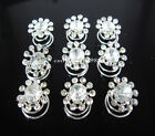 20Pcs Wedding Bridal Crystal Flower Hair Twists Spins Pins 8Color To Choose A-25