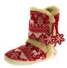 Ladies DUNLOP Boot Slippers Knitted Alpine Pattern Faux Fur Lined Slipper Boots