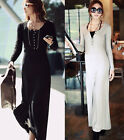 New Women's Winter Autumn Knitted Long Sleeve Maxi Dress Clothes Sweater Dress