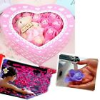 20 PCS Rose Petals Flower Bath Dissolving Soap In Heart Box Wedding Favor Gift