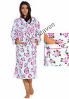 Luxury Fleece Dressing Gown Robe Housecoat White Pink Rose Floral 10 12 14 16 18