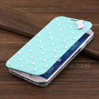 Luxury Cute Bow Pearl Leather Flip Hard Case Cover for Samsung Galaxy S4 I9500