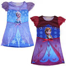 Girls Kids Frozen Princess Elsa Anna Fancy Dress Costume Gown Skirt Cosplay 3-7