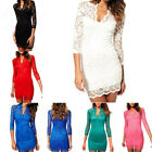 2014 Women 3/4 Sleeve V Neck Lace Dress Club Evening Cocktail Party Mini Dress