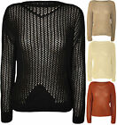 New Ladies Loose Knit Jumper Womens Stretch Long Sleeve Knitted Top 8-14