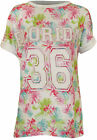 New Womens Florida 36 Floral Print Ladies Short Turn Up Sleeve Baseball Top 8-14