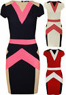 New Womens Contrast Bandage Bodycon Ladies Stretch Cap Sleeve Mini Dress 8 - 14