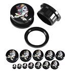 Pair Flower Lady Skull Acrylic Ear Expander Plugs Tunnel Screw Stretchers Gauges